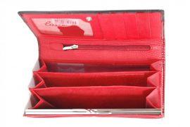 Dámská kroko kožená peněženka v krabičce Cossroll 01-5242 sp červeno-černá E-batoh