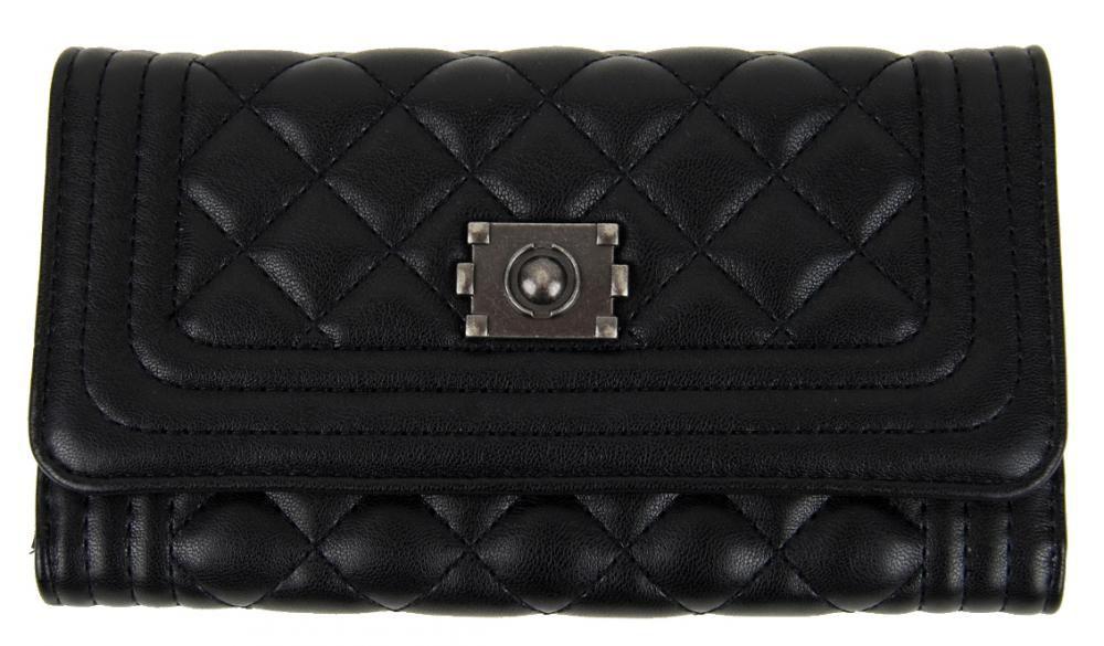 Prošívaná dámská peněženka DF029 černá