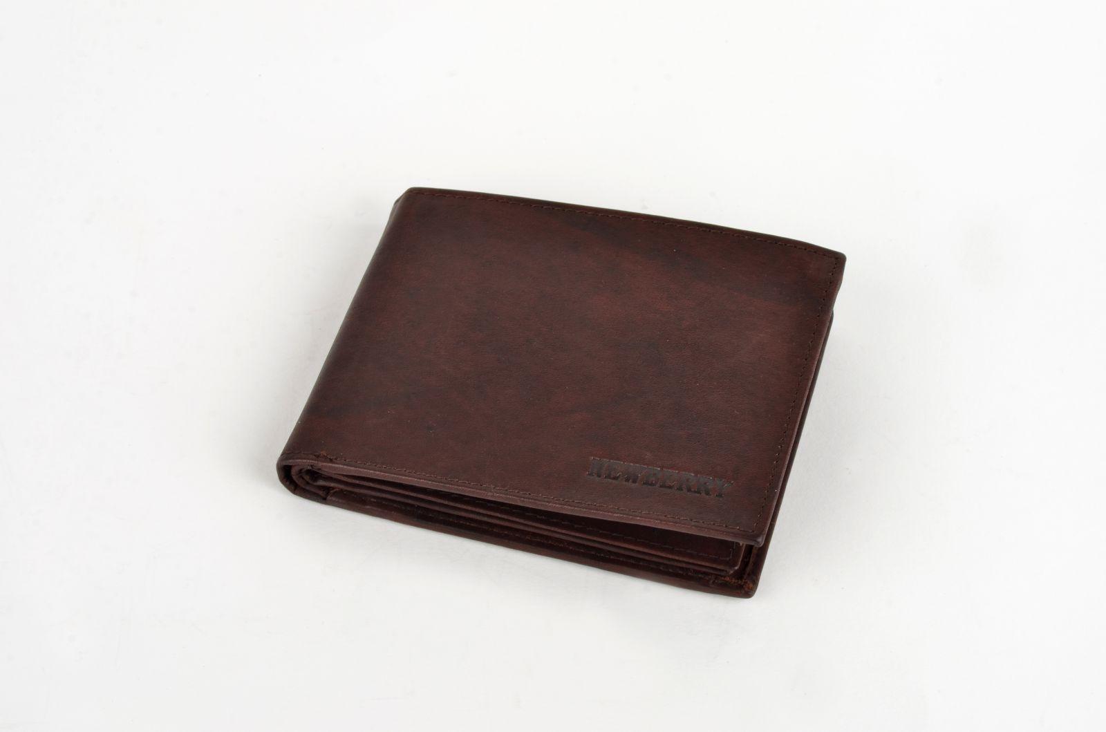 Pánská peněženka z vepřové kůže New Berry 877 hnědá