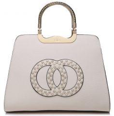 Módní béžová kabelka s ozdobnými kruhy K2628