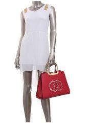 Módní červená kabelka s ozdobnými kruhy K2628 Moda Handbag E-batoh
