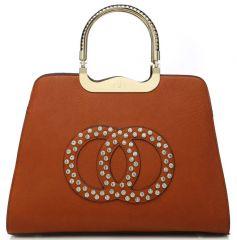 Módní hnědá kabelka s ozdobnými kruhy K2628