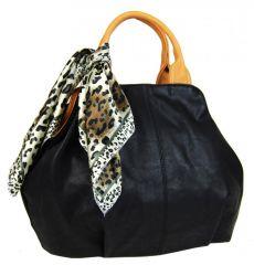 Módní černá dámská kabelka s šátkem AAJ-20