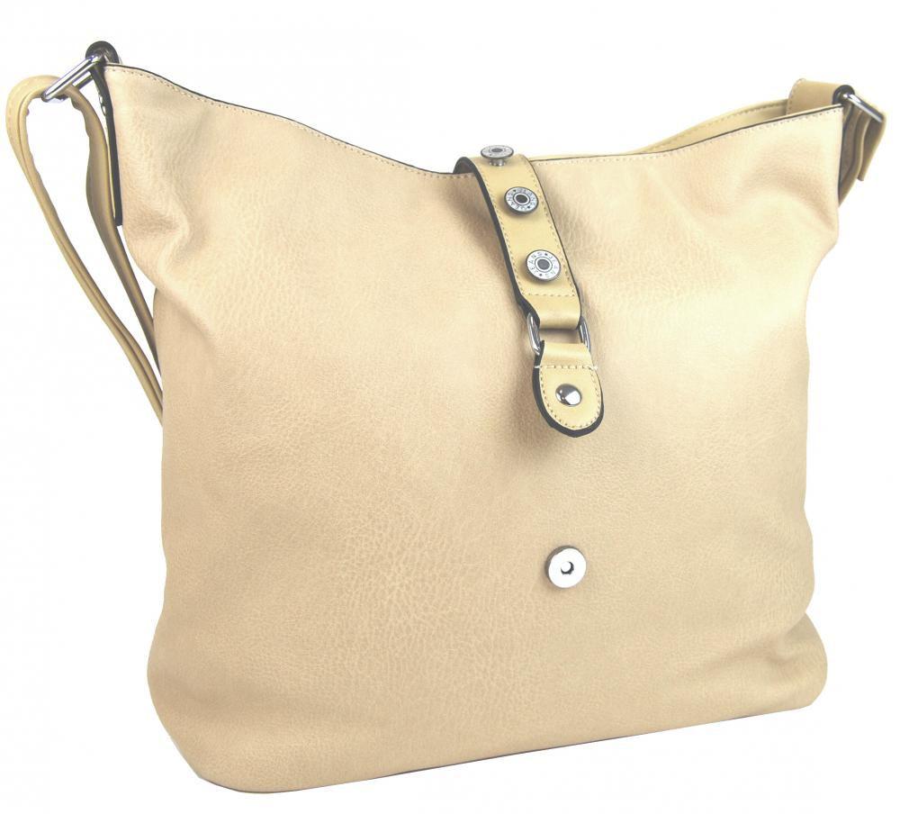 Velká dámská crossbody kabelka L2037 béžová NEW BERRY E-batoh 4eef86cfd64
