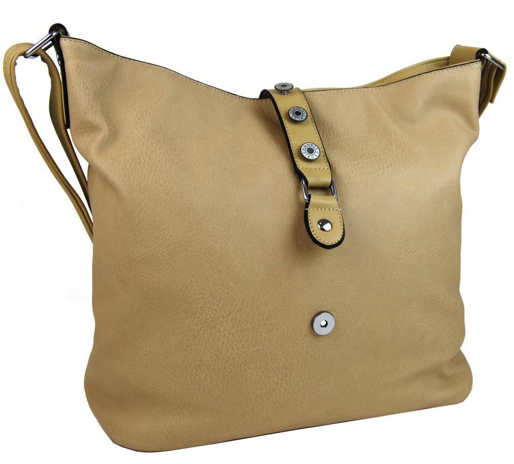 Velká dámská crossbody kabelka L2037 hnědo-béžová