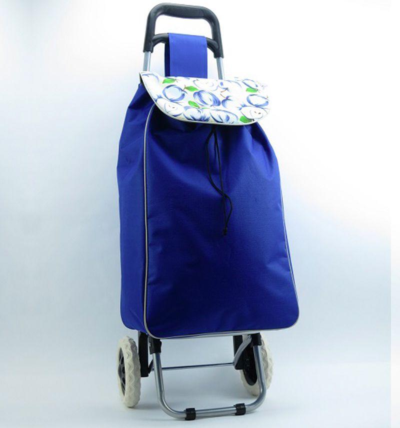 Nákupní taška na kolečkách METRO ST-004 - modrá/jablko