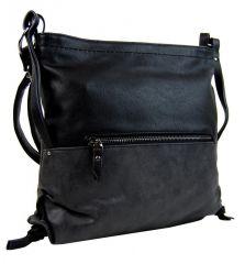 Dámská crossbody kabelka z broušené kůže 165B-6 černá