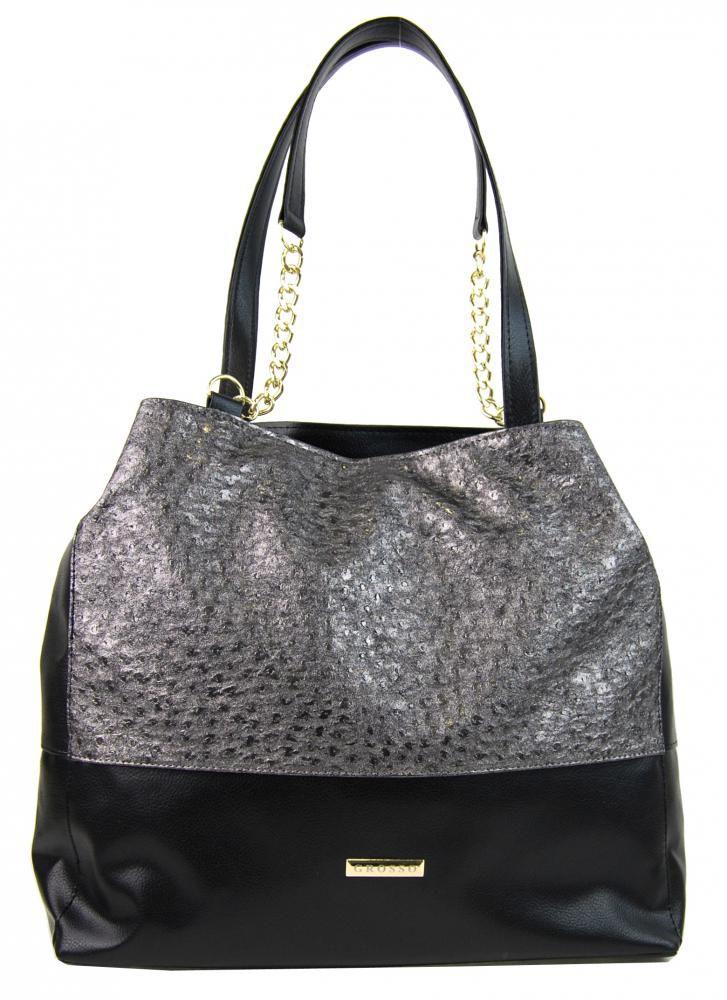 Grosso Stříbrno-černá kabelka s řetízky S611 GROSSO