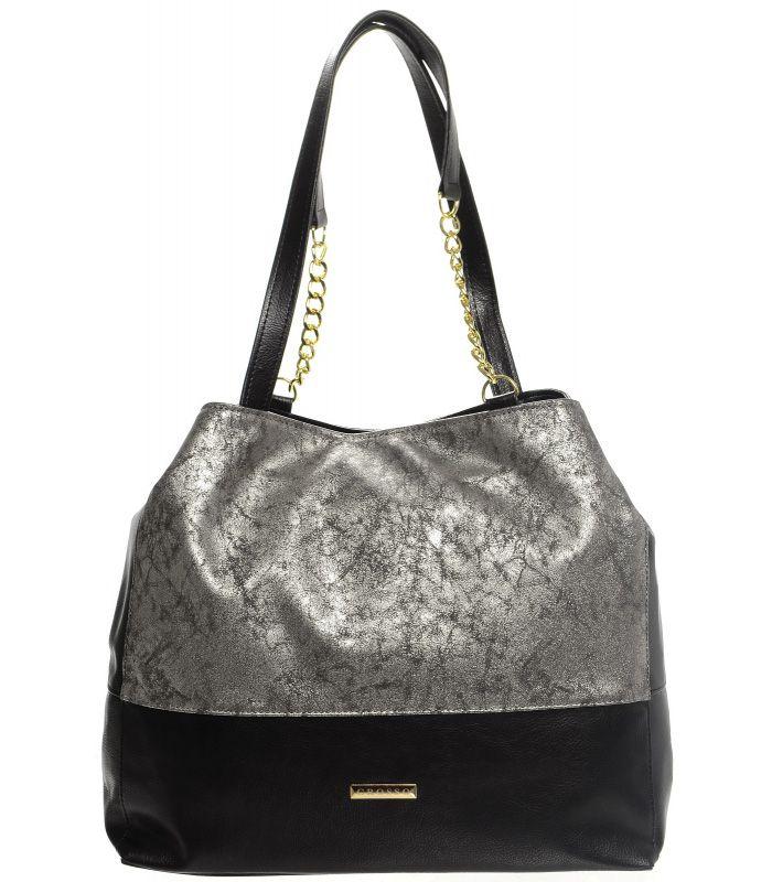 Grosso Stříbrno-černá patinovaná kabelka s řetízky S611 GROSSO