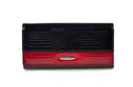 Dámská kroko kožená peněženka v krabičce Cossroll 01-5242 z černo-červená