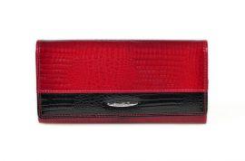 Dámská kroko kožená peněženka v krabičce Cossroll 01-5242 sp červeno-černá