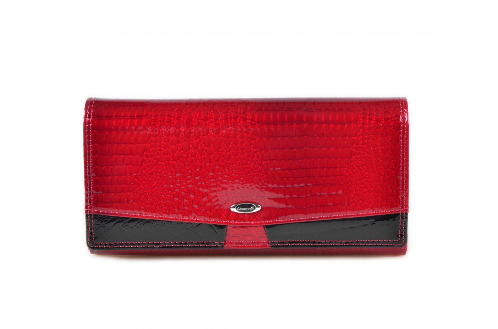 Dámská kroko kožená peněženka v krabičce Cossroll 07-5242F červena