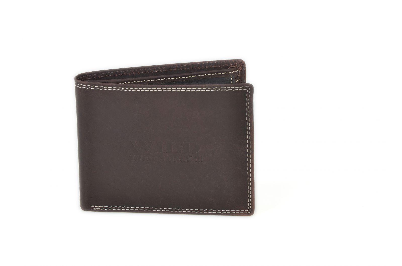 Pánská peněženka z broušené kůže WILD 966 hnědá