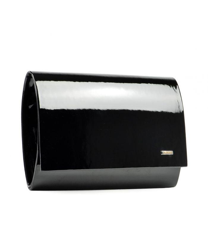 Grosso Luxusní černá lakovaná dámská listová kabelka / psaní SP100 GROSSO
