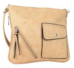 Elegantní crossbody kabelka z broušené kůže YF001 béžová