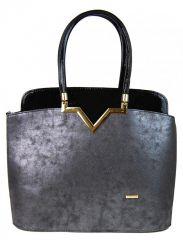 Černo-stříbrná patinovaná elegantní kabelka S482 GROSSO