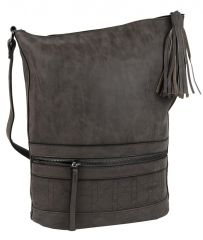 Asymetrická dámská broušená crossbody kabelka 16011 tmavá šedá