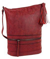 Asymetrická dámská broušená crossbody kabelka 16011 červená