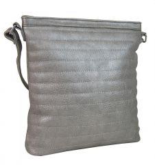 Světle šedá metalická prošívaná kabelka R649