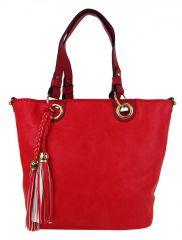 Elegantní kabelka na rameno se zlatými doplňky 2181-BB červená