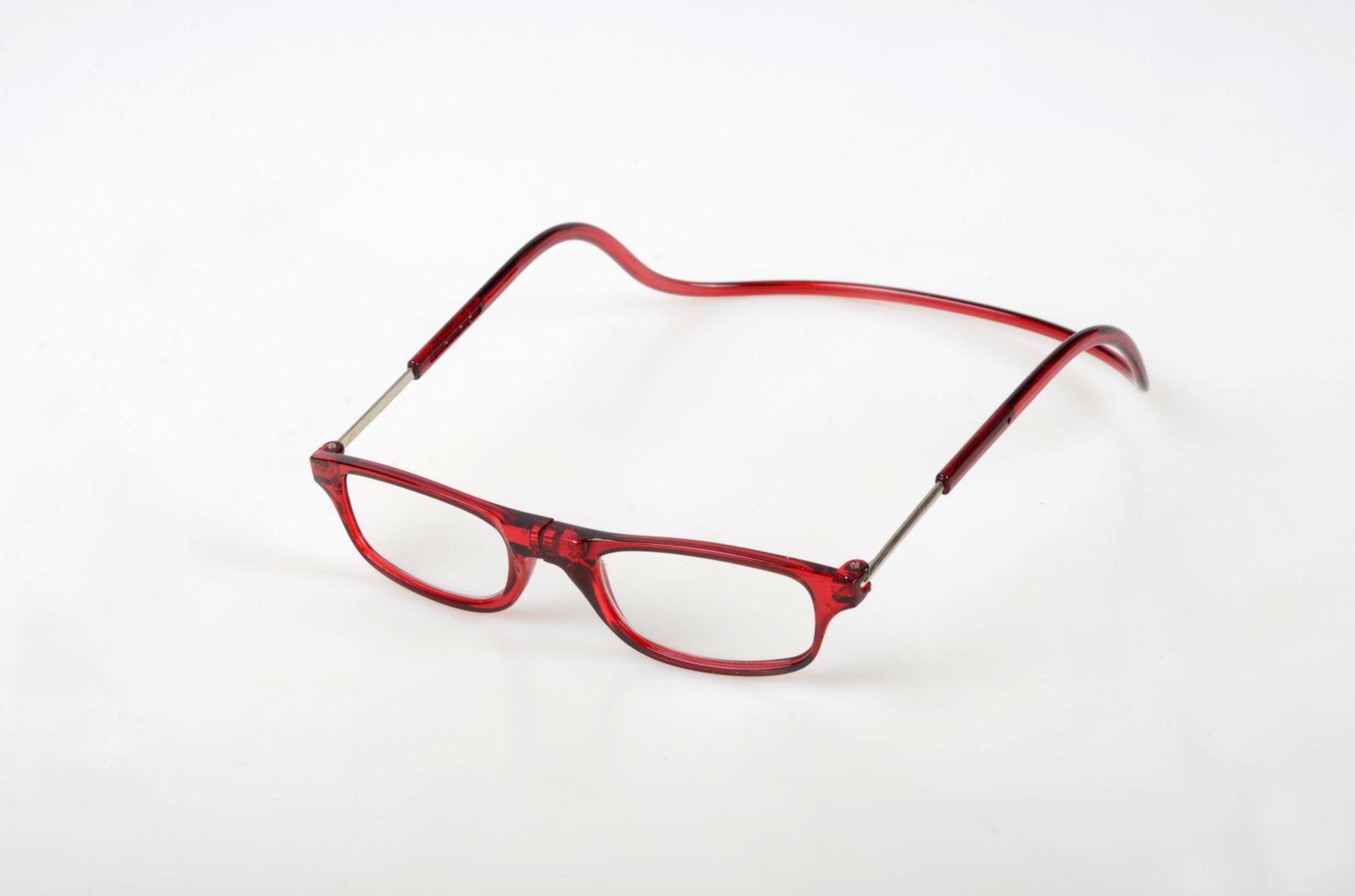 Dioptrické brýle na čtení s magnetem +2,5 - tmavočervené obruby