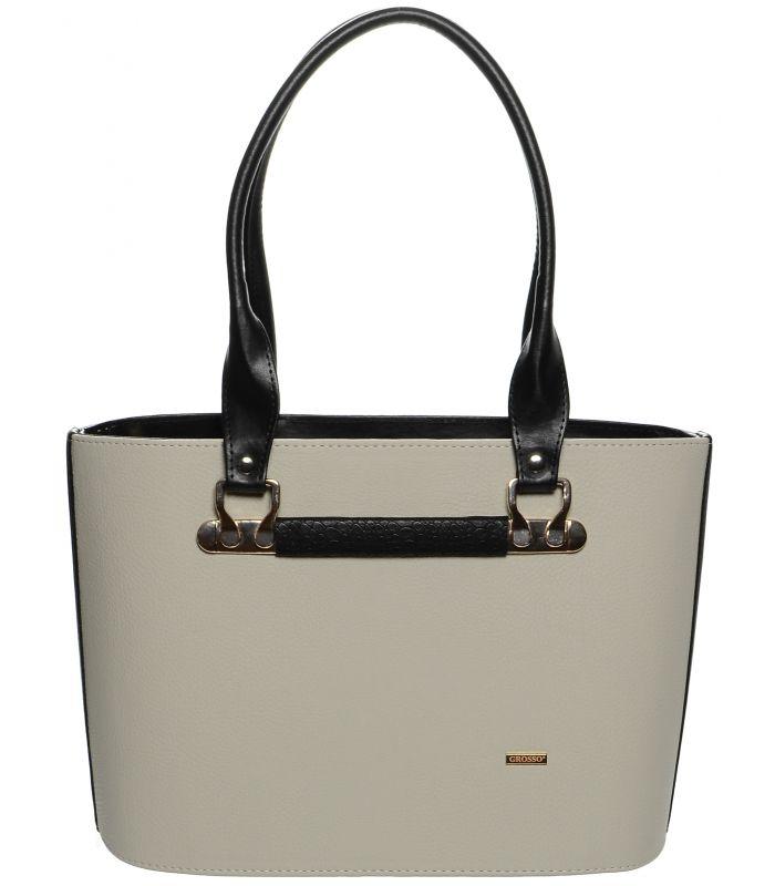 Grosso Šedo-černá elegantní kabelka přes rameno S646 GROSSO