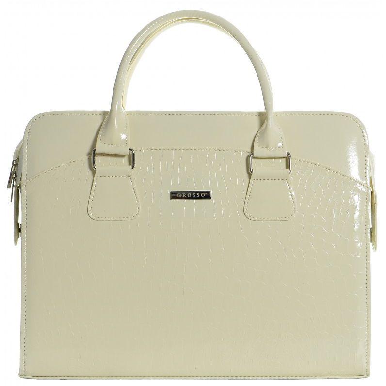 """Grosso Dámská luxusní taška na notebook béžový lak kroko ST01 15.6"""" GROSSO"""