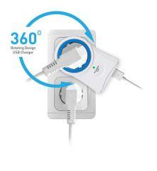 Solight přepěťová ochrana do zásuvky, 306J, 1 zásuvka, otočná o 360°, 2x USB výstup E-batoh