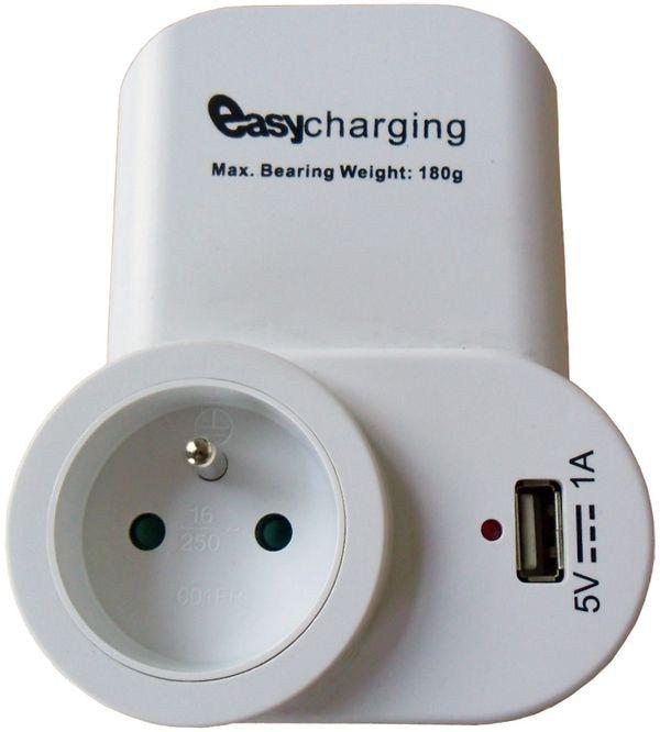 Solight USB nabíjecí adaptér s průběžnou zásuvkou, 1000mA, držák na telefon, bílý