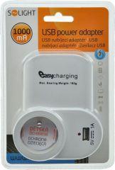 Solight USB nabíjecí adaptér s průběžnou zásuvkou, 1000mA, držák na telefon, bílý E-batoh