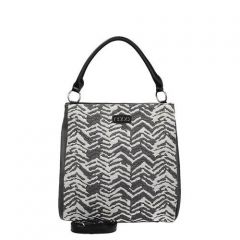 Elegantní bílo-černá kabelka - N1420b s páskem