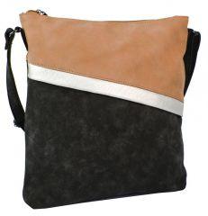 Černo-hnědá dámská crossbody kabelka se šikmými zipy H16183