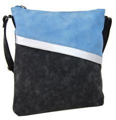 Černo-modrá dámská crossbody kabelka se šikmými zipy H16183