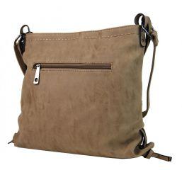 Dámská crossbody kabelka z broušené kůže 165B-6 písková hnědá Tapple E-batoh