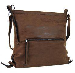Dámská crossbody kabelka z broušené kůže 165B-6 tmavě hnědá