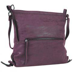 Dámská crossbody kabelka z broušené kůže 165B-6 vínová