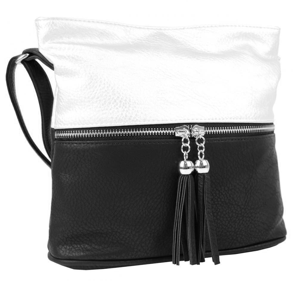 Malá crossbody kabelka se stříbrným zipem NH6020 černo-bílá