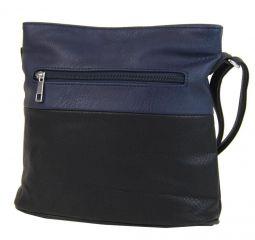 Malá crossbody kabelka se stříbrným zipem NH6020 černo-modrá NEW BERRY E-batoh