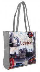 Dámská kabelka na rameno s motivem Londýna 60694 světle šedá