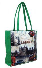 Dámská kabelka na rameno s motivem Londýna 60694 zelená