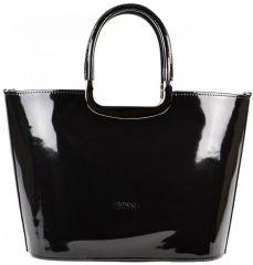 Luxusní kabelka černá lakovaná S7 stříbrné kování GROSSO