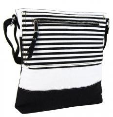 Textilní crossbody dámská kabelka B508 černo-bílá