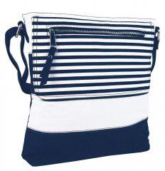 Textilní crossbody dámská kabelka B508 modro-bílá