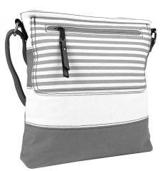 Textilní crossbody dámská kabelka B508 šedo-bílá