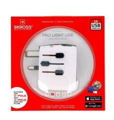 SKROSS cestovní adaptér SKROSS PRO Light USb, 6.3A max., vč. USB nabíjení, uzemněný, UK+USA+Austrálie/Čína E-batoh