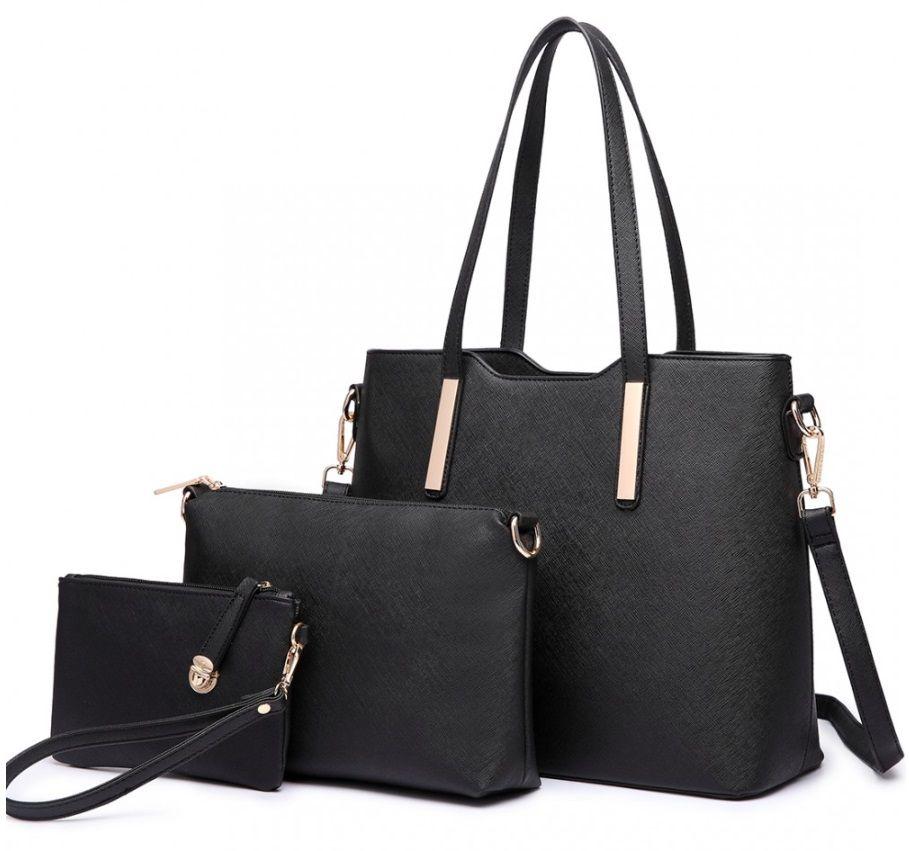 Lulu Bags (Anglie) Praktický dámský kabelkový set 3v1 Miss Lulu černá