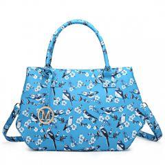 Nadčasová světle modrá kabelka s ptáčky Miss Lulu