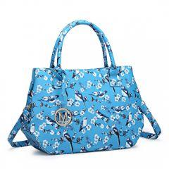 Nadčasová světle modrá kabelka s ptáčky Miss Lulu Lulu Bags (Anglie) E-batoh