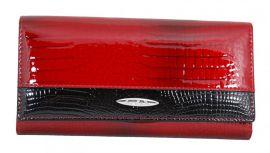 Dámská kroko kožená peněženka v krabičce Cossroll 01-5242-1 červeno-černá