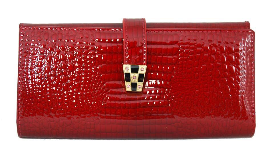 Dámská kroko kožená peněženka v krabičce Cossroll A16-5242 červená